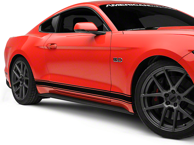 American Muscle Graphics Black Rocker Stripes (15-18 All)