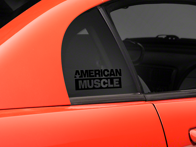 SEC10 AmericanMuscle Quarter Window Decal; Black (94-04 All)