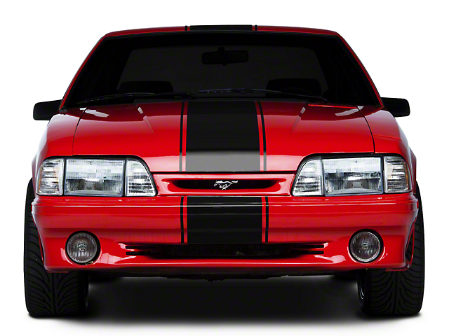 American Muscle Graphics Super Snake Style Stripes; Black (79-93 All)