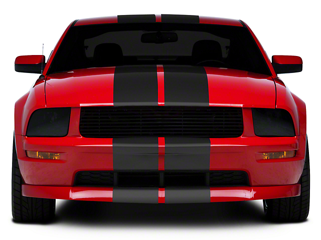 American Muscle Graphics Matte Black GT500 Style Stripes - 10 in. (05-14 All)