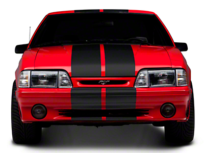 American Muscle Graphics Matte Black GT500 Style Stripes - 10 in. (79-93 All)
