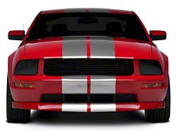 American Muscle Graphics GT500 Style Stripes; Silver; 10-Inch (05-14 All)