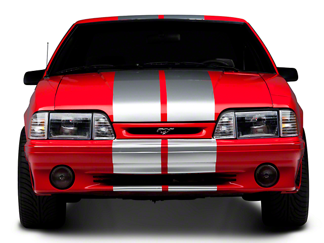 SEC10 GT500 Style Stripes; Silver; 10-Inch (79-93 All)