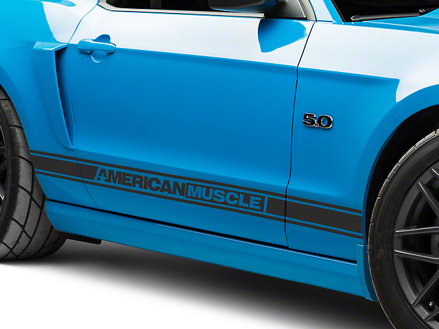 American Muscle Graphics Rocker Stripes with AmericanMuscle Logo; Matte Black (05-14 All)
