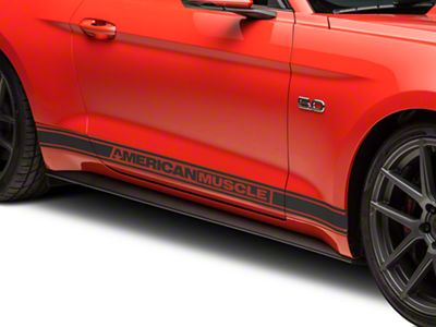 American Muscle Graphics Matte Black Rocker Stripes w/ AmericanMuscle (15-19 All)