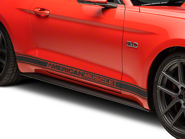 American Muscle Graphics Rocker Stripes with AmericanMuscle Logo; Matte Black (15-20 All)
