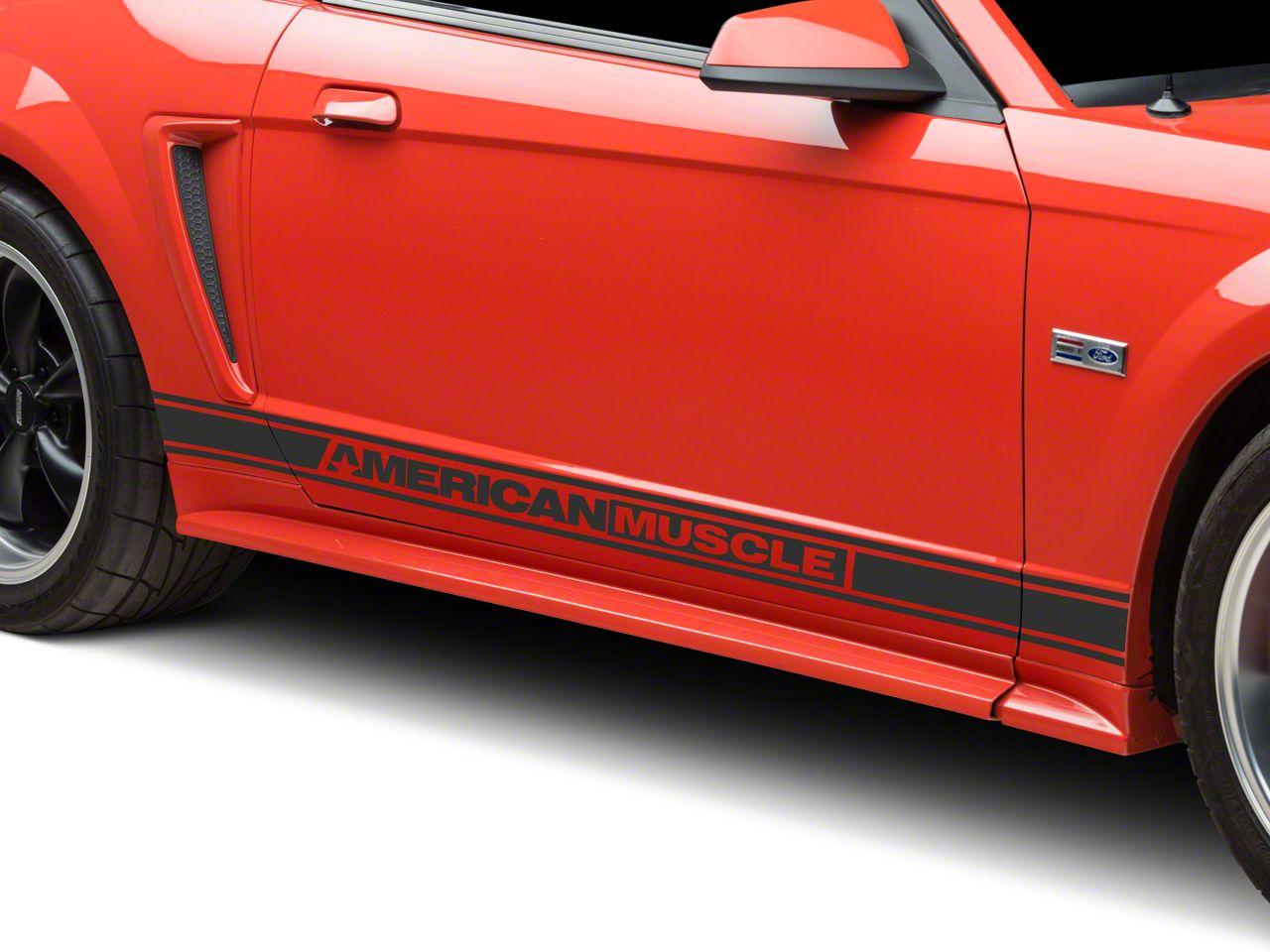 American Muscle Graphics Matte Black Rocker Stripes w/ AmericanMuscle (94-04 All)
