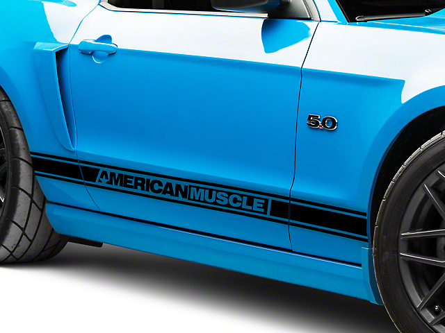 American Muscle Graphics Black Rocker Stripes w/ AmericanMuscle (05-14 All)