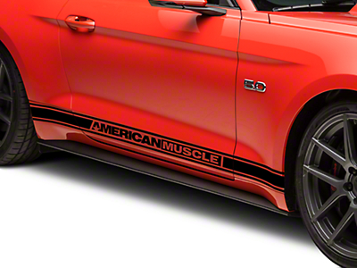 American Muscle Graphics Black Rocker Stripes w/ AmericanMuscle (15-18 All)