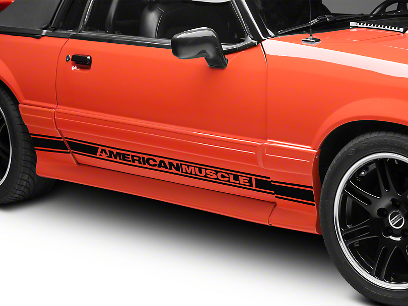 American Muscle Graphics Black Rocker Stripes w/ AmericanMuscle (79-93 All)