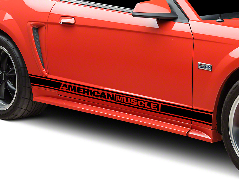 American Muscle Graphics Black Rocker Stripes w/ AmericanMuscle (94-04 All)