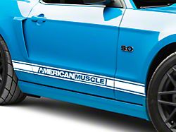 American Muscle Graphics White Rocker Stripes w/ AmericanMuscle (05-14 All)
