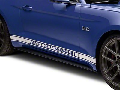 American Muscle Graphics White Rocker Stripes w/ AmericanMuscle (15-19 All)