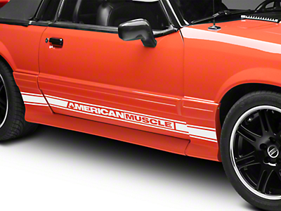 American Muscle Graphics White Rocker Stripes w/ AmericanMuscle (79-93 All)