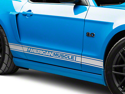 American Muscle Graphics Silver Rocker Stripes w/ AmericanMuscle (05-14 All)