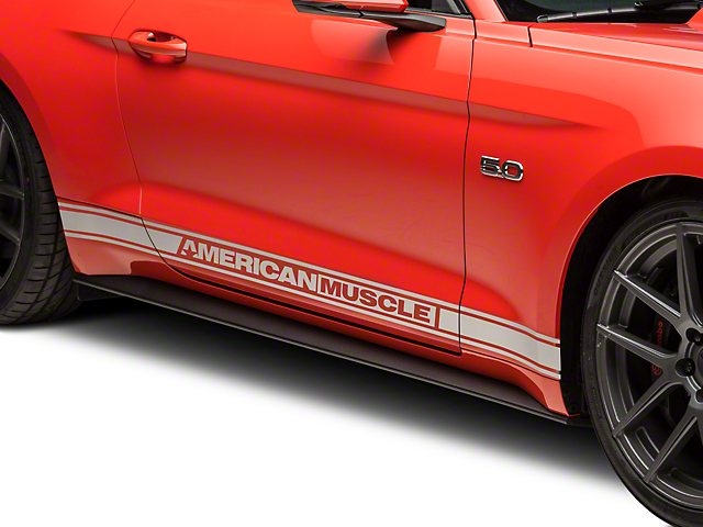 American Muscle Graphics Rocker Stripes with AmericanMuscle Logo; Silver (15-20 All)
