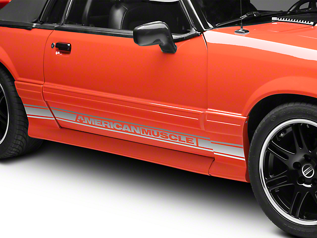 American Muscle Graphics Rocker Stripes with AmericanMuscle Logo; Silver (79-93 All)