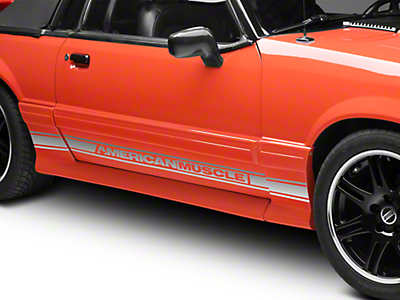 American Muscle Graphics Silver Rocker Stripes w/ AmericanMuscle (79-93 All)