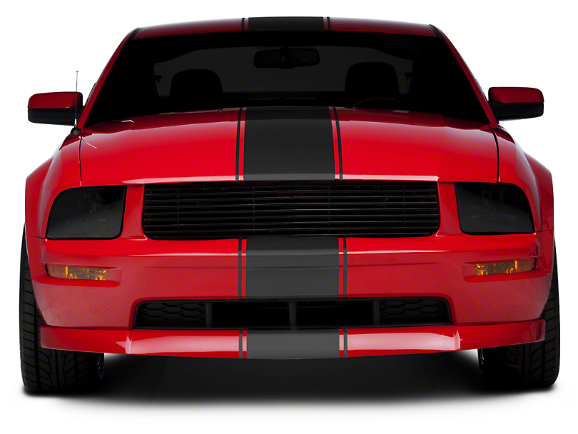 American Muscle Graphics Super Snake Style Stripes; Matte Black (05-14 All)