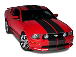 American Muscle Graphics Lemans Stripes; Matte Black; 12-Inch (79-20 All)
