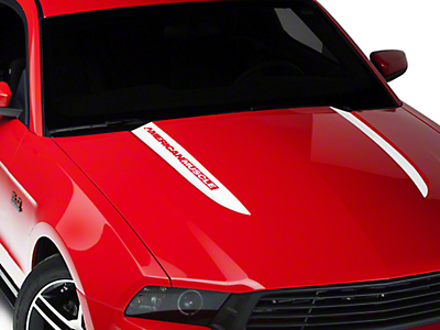 American Muscle Graphics White Hood Accent Decal - AmericanMuscle Logo (10-12 GT, V6)
