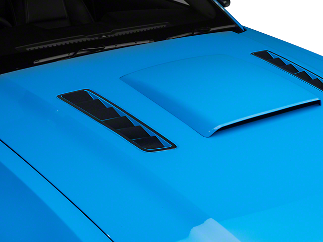 American Muscle Graphics Hood Vent Accent Decals; Matte Black (13-14 All)