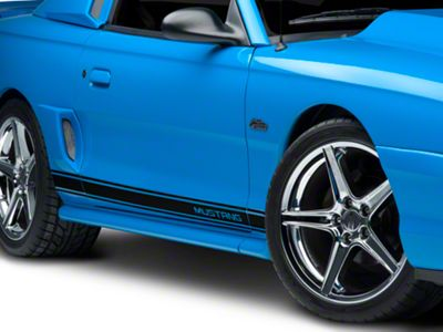 American Muscle Graphics Black Rocker Stripes w/ Mustang Lettering (79-19 All)