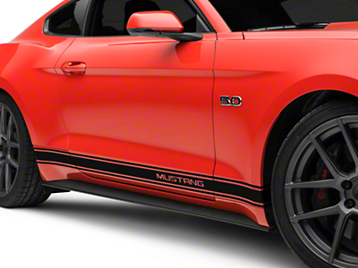 American Muscle Graphics Black Rocker Stripes w/ Mustang Lettering (15-18 All)