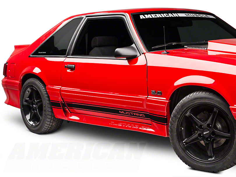 American Muscle Graphics Black Rocker Stripes w/ Mustang Lettering (79-93 All)