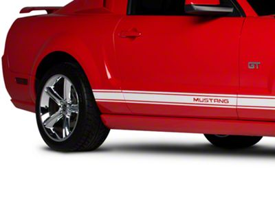 American Muscle Graphics White Rocker Stripes w/ Mustang Lettering (05-14 All)