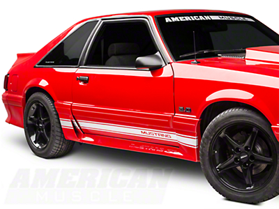 American Muscle Graphics White Rocker Stripes w/ Mustang Lettering (79-93 All)