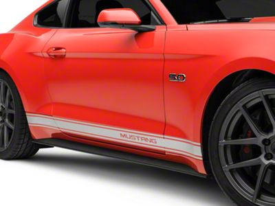 American Muscle Graphics Silver Rocker Stripes w/ Mustang Lettering (15-19 All)