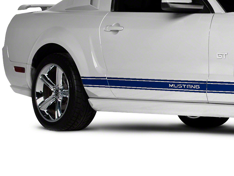 American Muscle Graphics Blue Rocker Stripes w/ Mustang Lettering (05-14 All)
