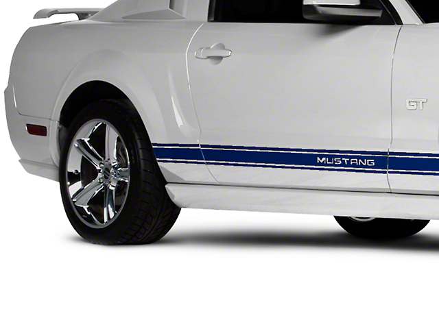 Blue Rocker Stripes w/ Mustang Lettering (05-14 All)