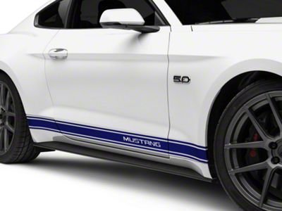 American Muscle Graphics Blue Rocker Stripes w/ Mustang Lettering (15-19 All)