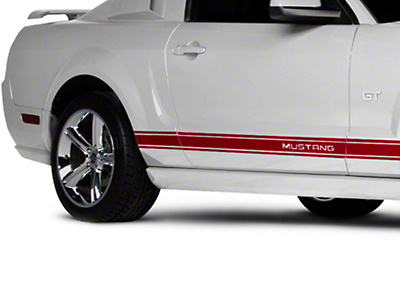 American Muscle Graphics Red Rocker Stripes w/ Mustang Lettering (05-14 All)