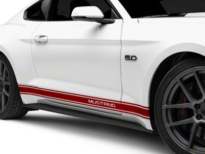 American Muscle Graphics Red Rocker Stripes w/ Mustang Lettering (15-19 All)