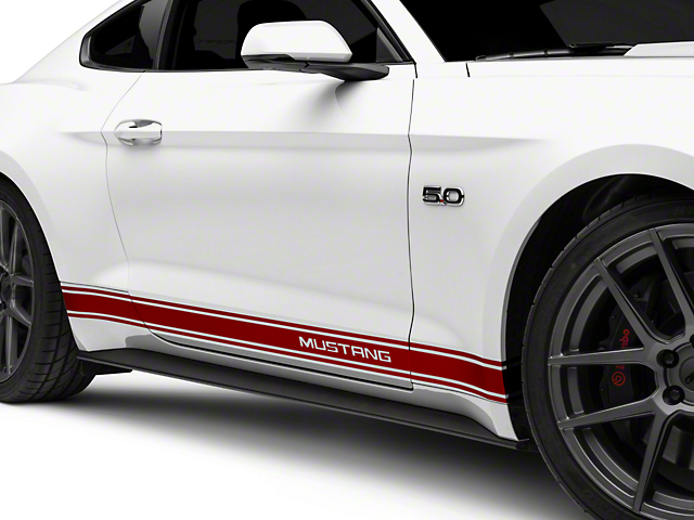 American Muscle Graphics Red Rocker Stripes w/ Mustang Lettering (15-18 All)