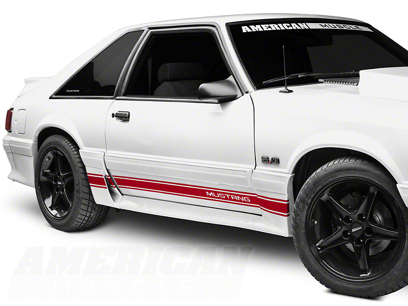 American Muscle Graphics Red Rocker Stripes w/ Mustang Lettering (79-93 All)