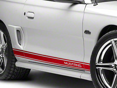 American Muscle Graphics Red Rocker Stripes w/ Mustang Lettering (94-04 All)