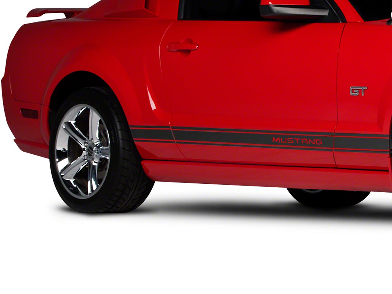 American Muscle Graphics Matte Black Rocker Stripes w/ Mustang Lettering (05-14 All)