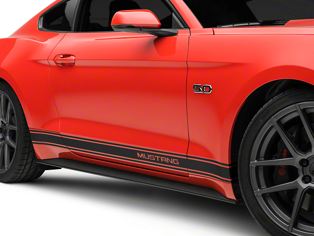 American Muscle Graphics Matte Black Rocker Stripes w/ Mustang Lettering (15-17 All)