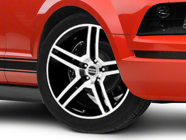 2010 GT500 Style Black Machined Wheel; Rear Only; 19x10 (05-09 All)