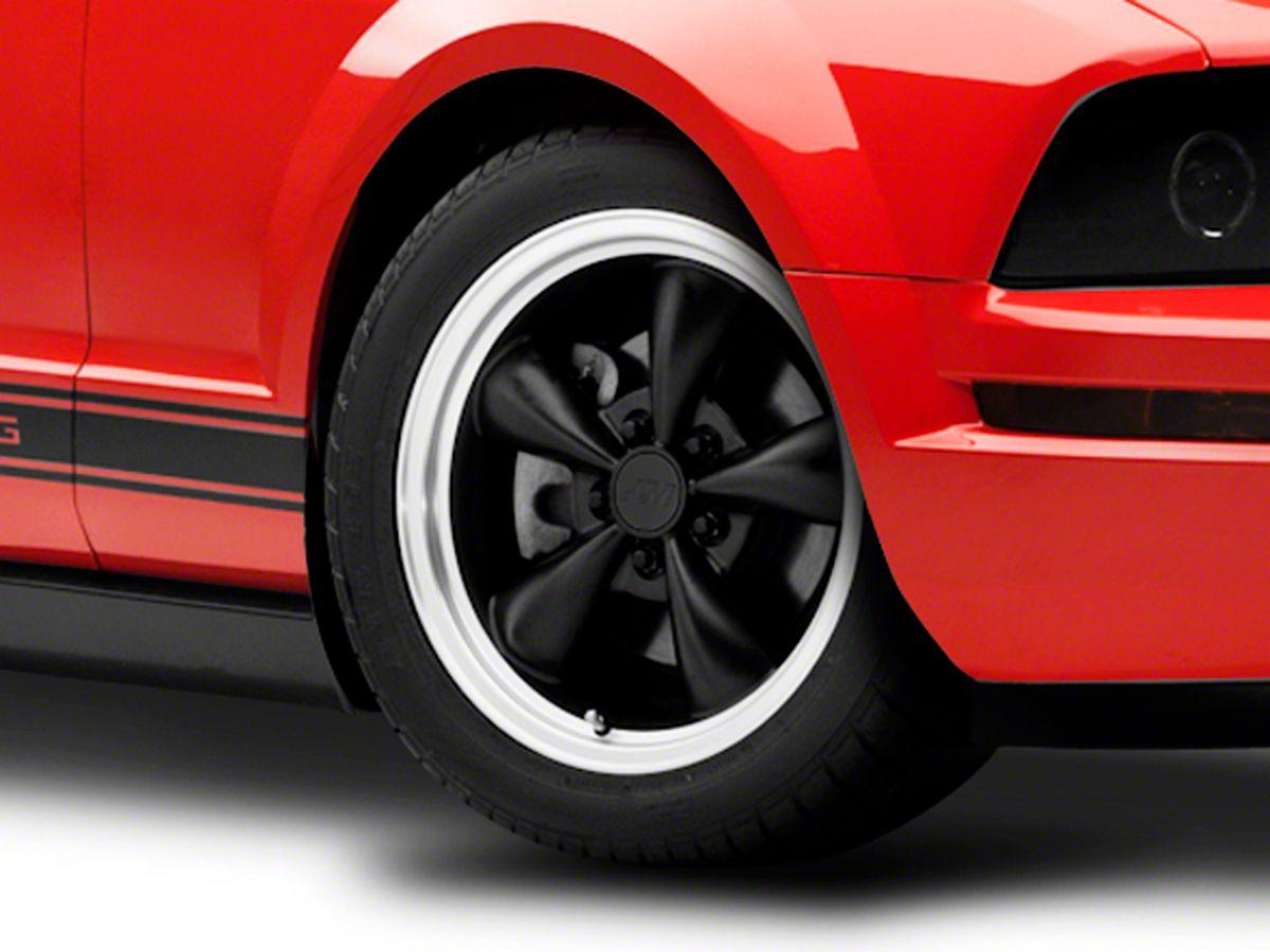 Ford Mustang Tri-Bar in Black on Black Aluminum Tire Valve Stem Caps