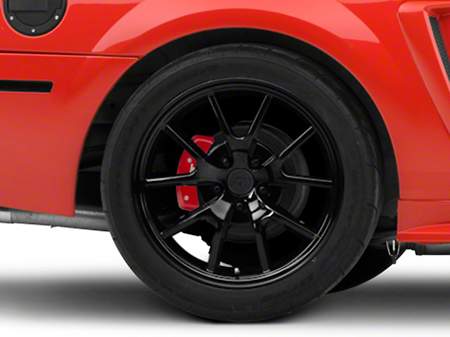 FR500 Style Solid Gloss Black Wheel; Rear Only; 18x10 (99-04 All)
