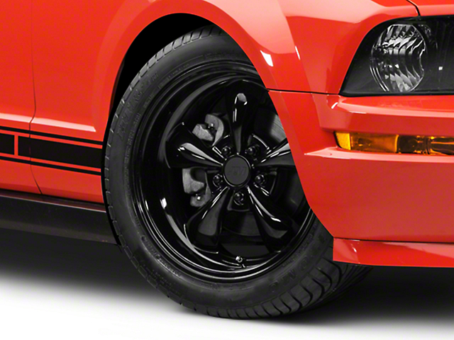Bullitt Solid Black Wheel; 18x8 (05-09 GT, V6)