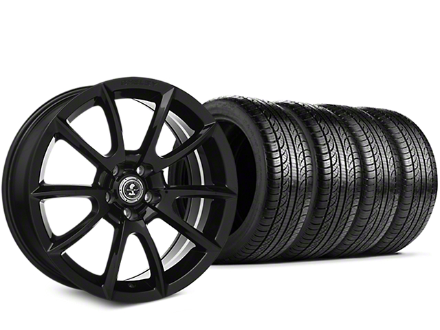 Staggered Shelby Super Snake Style Black Wheel & Pirelli Tire Kit - 19x8.5/10 (05-14)