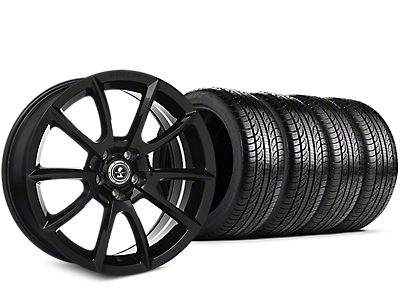 Staggered Shelby Super Snake Style Black Wheel & Pirelli Tire Kit - 19x8.5/10 (05-14 All)