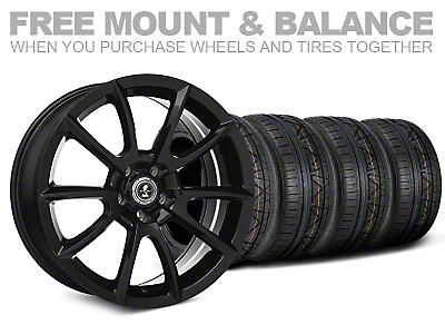Staggered Super Snake Style Black Wheel & NITTO INVO Tire Kit - 19x8.5/10 (05-14 All)