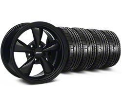 Staggered Bullitt Solid Gloss Black Wheel and Mickey Thompson Tire Kit; 18x9/10 (05-10 GT; 05-14 V6)
